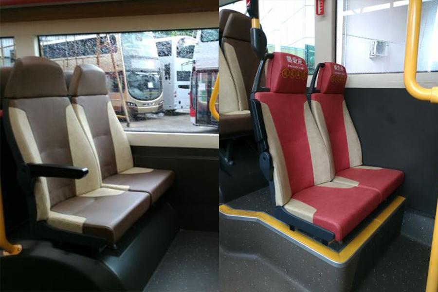 座椅以商務啡色為主,頭枕與椅背比例設計適合亞洲人。關愛座則為粉紅配杏色,讓乘客容易區分。(九巴)
