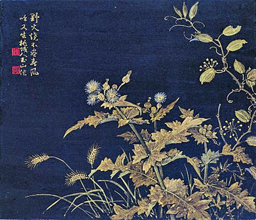 林玉山 1984《春草》紙、泥金, 43.2×52(中華文化總會提供)