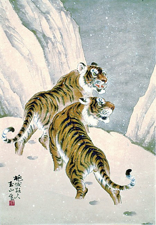《雪山雙虎》66X46cm,紙本水墨設色1975(劉墉提供)。劉墉:「林氏獨步國內畫壇的龍虎作品中,看到禪林水墨的意趣和深厚的寫生功夫。」(中華文化總會提供)