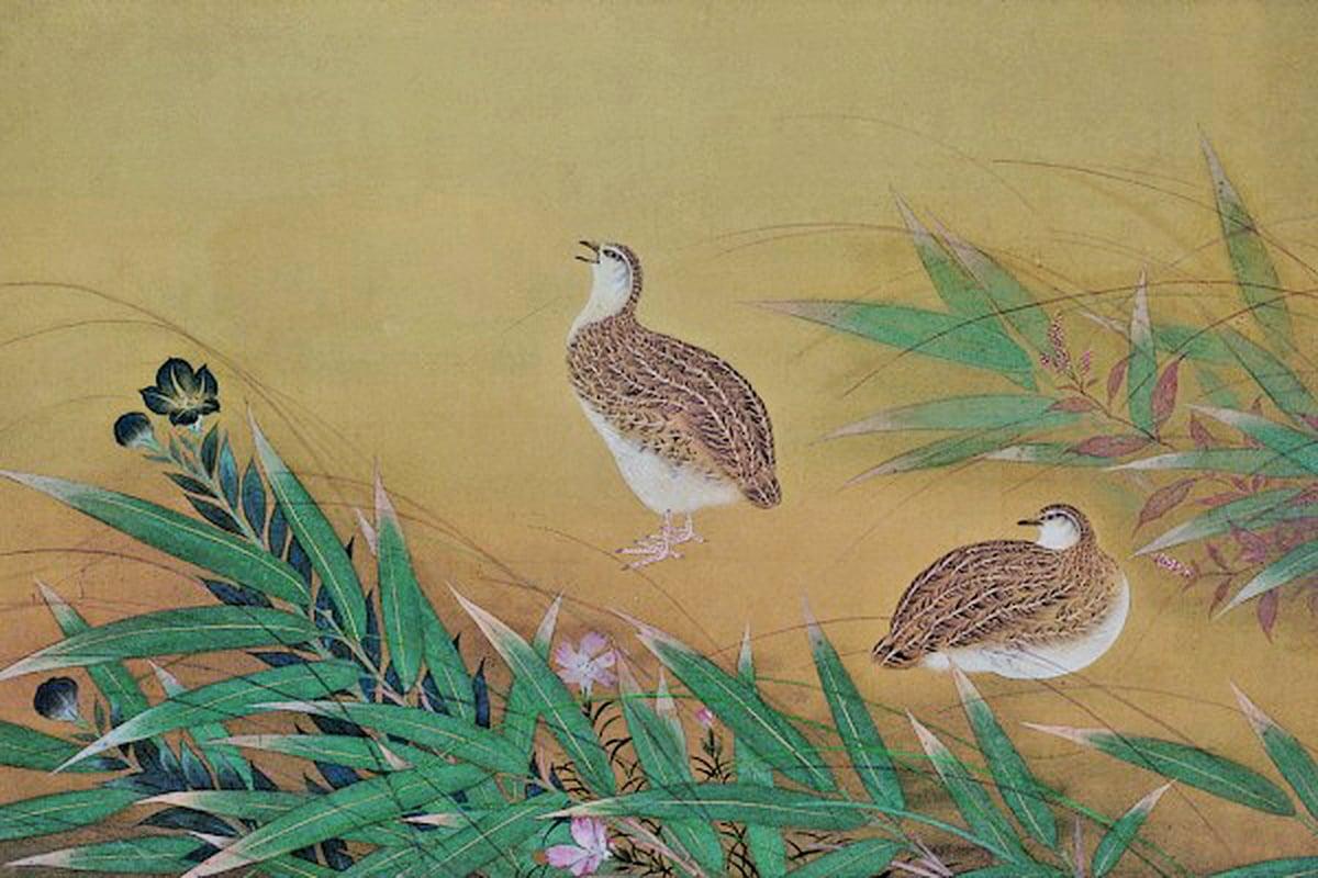 林玉山 1935雙鶉圖 41×71cm(藝術家提供)從這幅一九三五年畫的雙鉤填彩「雙鶉圖」,可以見出林氏對宋院派畫法用功之精(中華文化總會提供)