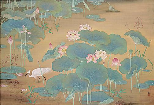 林玉山《蓮池》,1930,膠彩、絹146.4 x 215.2 cm 國立台灣美術館典藏(國立台灣美術館提供)