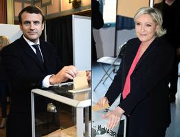 法國大選第二輪 馬克龍與瑪琳勒龐決勝負
