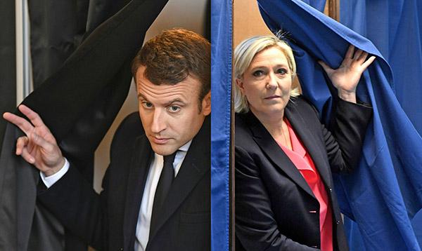 法國總統大選第二輪投票,由馬克龍(左)及瑪麗娜勒龐(右)對決。(ERIC FEFERBERG,ALAIN JOCARD/AFP/Getty Images)