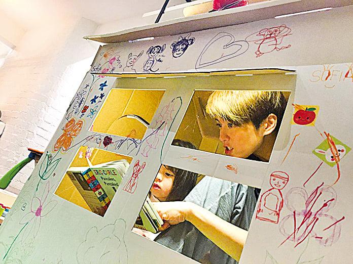 梁詠琪(Gigi)透過社交網站上載了一張與囡囡Sofia一起塗鴉的相片。(UNICEF HK提供)