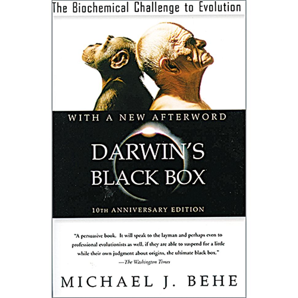 美國生物化學家貝希撰寫的《達爾文的黑匣子》一書。書中反駁「進化論」的真實性,引起學術界及文化界的震撼。 (網絡截圖)