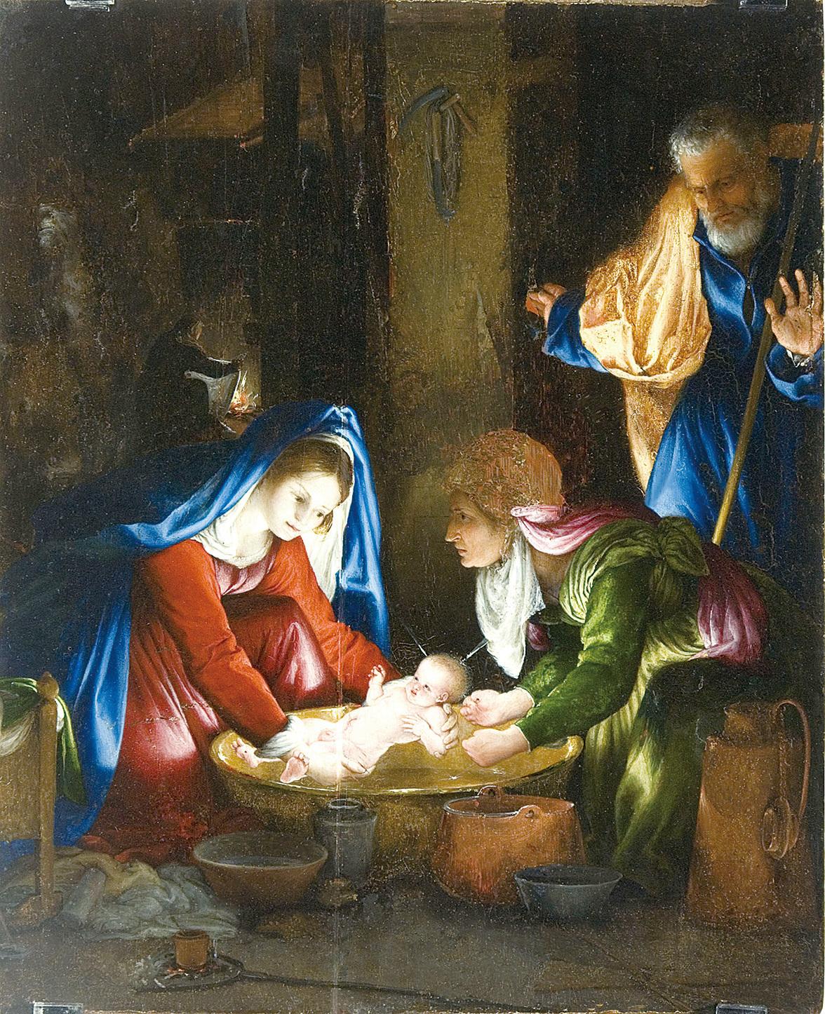 《耶穌誕生》,Lorenzo Lotto 1527年作。 56 x 46 cm,油畫於木板。(維基百科)