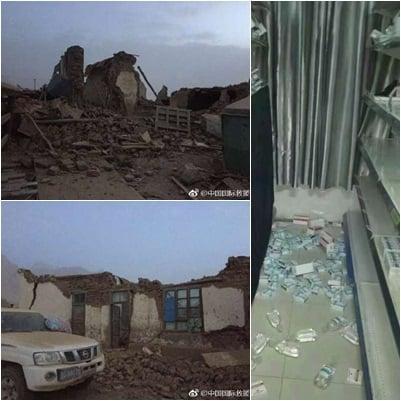地震造成居民房屋倒塌,傷亡嚴重。(網絡圖片)