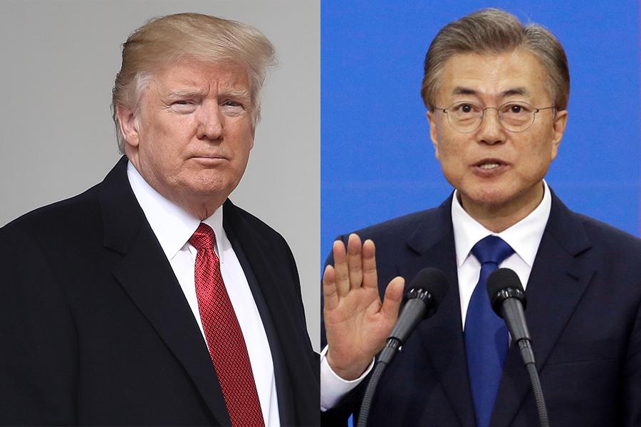 南韓媒體今天報道,南韓新任總統文在寅10日晚與美國總統特朗普通電話,雙方就儘早舉行韓美高峰會談達成共識。(Win McNamee/Getty Images、AHN YOUNG-JOON/AFP)