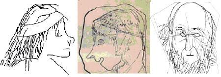 彭卡德與羅夫在拉馬什山洞挖掘出一千五百個蝕刻著圖案的石板,上面刻著許多類似中古時代歐洲人的人頭像。(施存真提供)