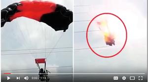 女傘兵空中誤觸高壓電 瞬間爆炸大難不死
