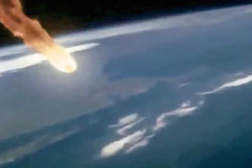 小行星飛向地球模擬圖。(視頻截圖)