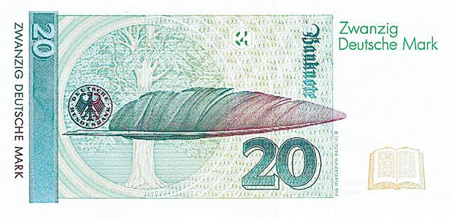 20馬克紙幣背面的圖案是一支鵝毛筆和一棵櫸樹,以紀念德羅斯特的傳世佳作《猶太人的櫸樹》。(維基百科)