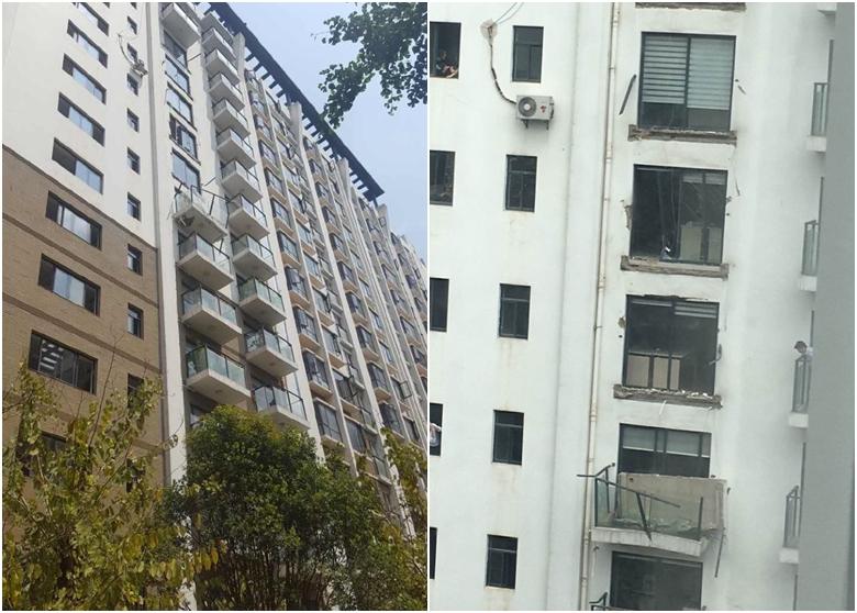 5月11日中午,雲南昆明一小區5戶人家的露台竟然集體掉落,斷裂處完全沒有鋼筋連接的痕跡。網民怒斥豆腐渣。(網絡圖片)