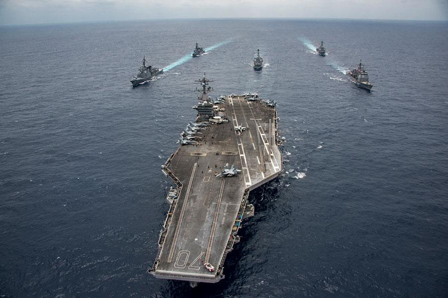 自從越戰以來第一次,美國航母計劃周一(3月5日)訪問越南港口,暗示中共的野心擴張正在促使過去的敵人走到一起,暗示亞洲的地緣政治格局發生顯著變化。(U.S. Navy photo by Mass Communication Specialist 2nd Class Z.A. Landers/Released)