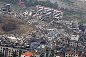 四川汶川地震後的廢墟。(網絡圖片)