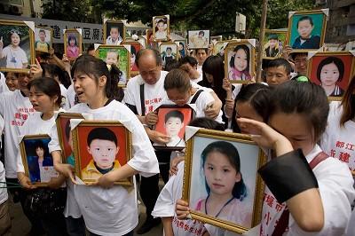四川汶川地震屆滿一周年時,受災家屬的紀念活動。(受災家屬提供)