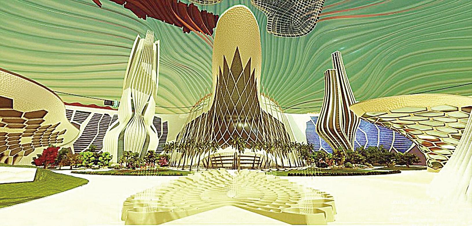 火星城市內部樣貌概念圖。(影片截圖)
