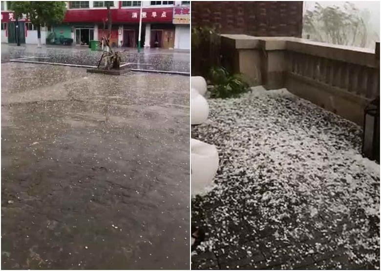 5月14日,安徽百餘鄉鎮刮強風,多地下冰雹。(網絡圖片)