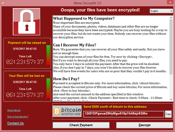 勒索病毒WannaCry橫行全球,感染病毒的電腦有三分之二是微軟Windows 7作業系統且未進行最新安全性更新的電腦。(Wikimedia Commons)