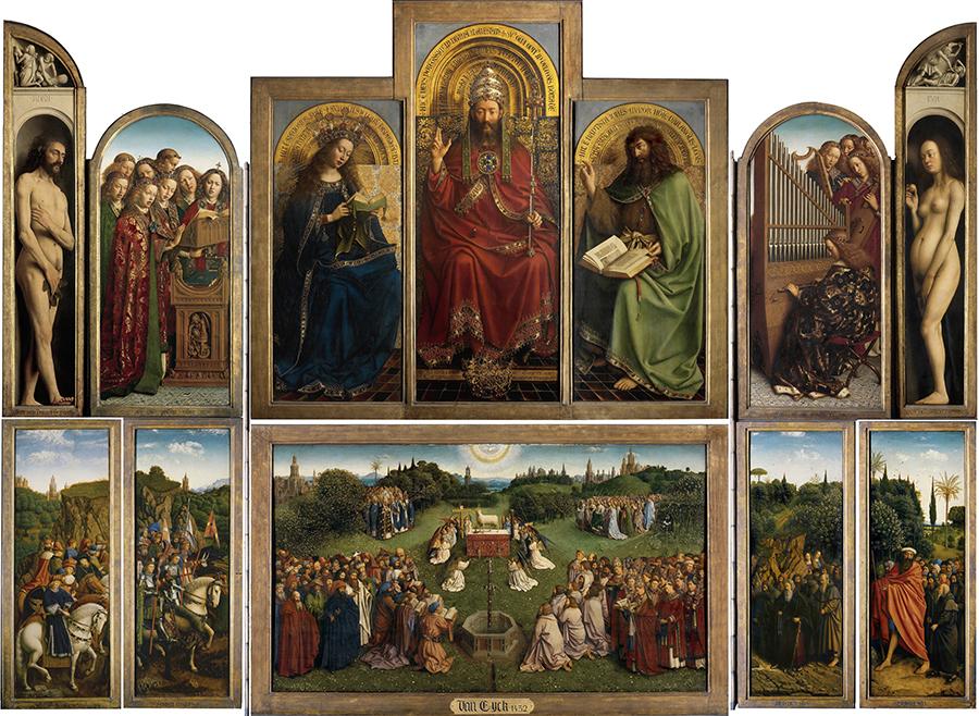 凡・艾克兄弟的《根特祭壇畫—神秘的羔羊》(Retable de l'Agneau Mystique),作於1415年—1432年,整幅祭壇畫約343×440厘米,題材取自聖經《啟示錄》,表達了對神在末世時慈悲救度眾生的讚頌。(維基公共領域)