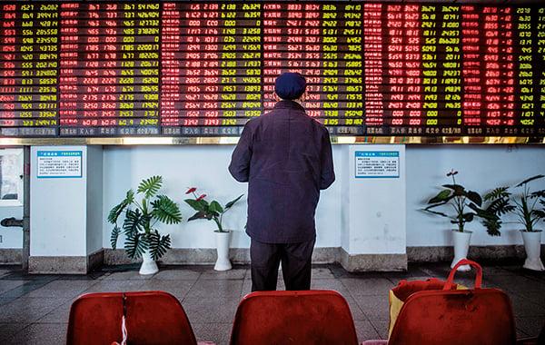截至今年5月12日的兩年間,大陸A股市值蒸發超過20萬億人民幣。(Getty images)