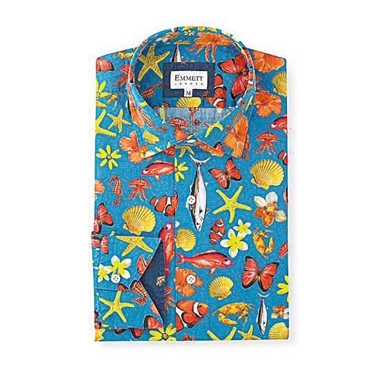 Emmett London活潑鮮豔的休閒印花襯衫。(Emmett 提供)恤衫。
