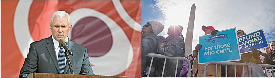 1月27日一年一度的美國華府反墮胎大遊行,有數萬人參加,副總統彭斯開先例,上台發言。(TASOS KATOPODIS/AFP/Getty Images)
