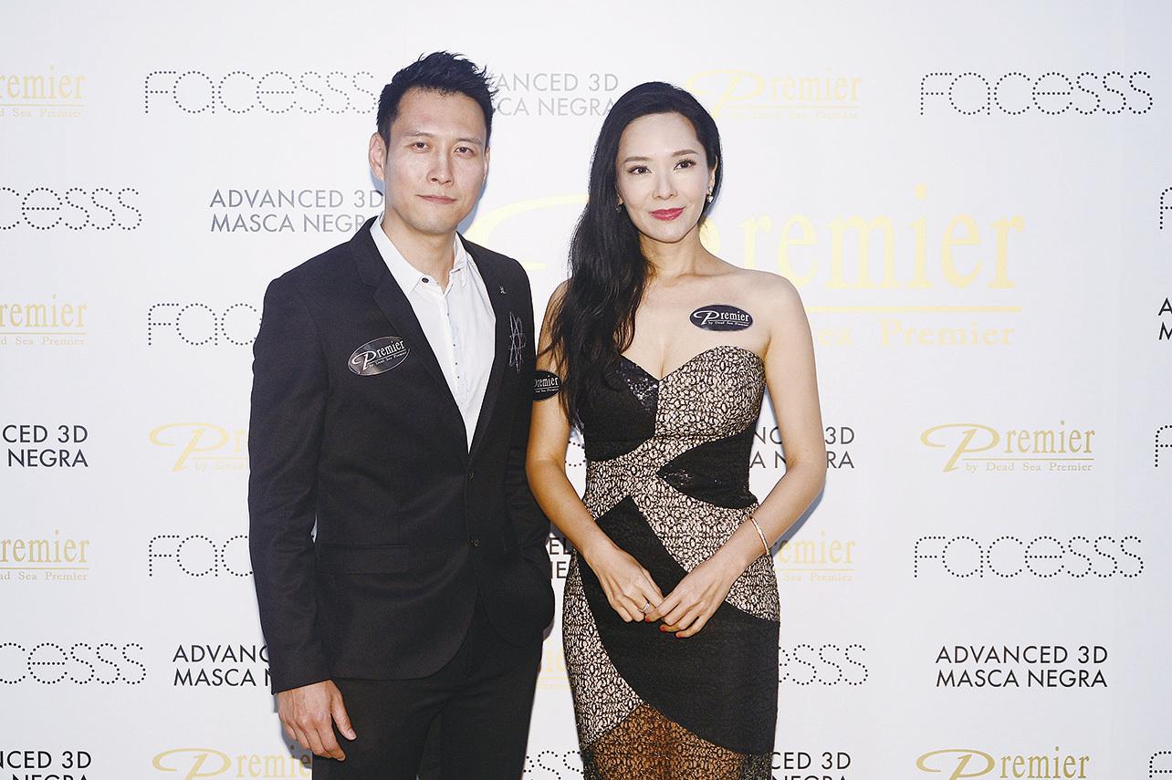 Sonija和劉天龍出席美容品牌活動 。(宋碧龍/大紀元)