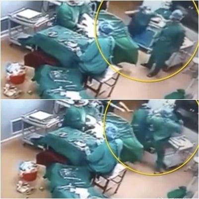 護士先動手打了男醫生,而男醫生毫不示弱,連出重拳猛擊女護士的頭部,將其打倒在地。(合成圖片)