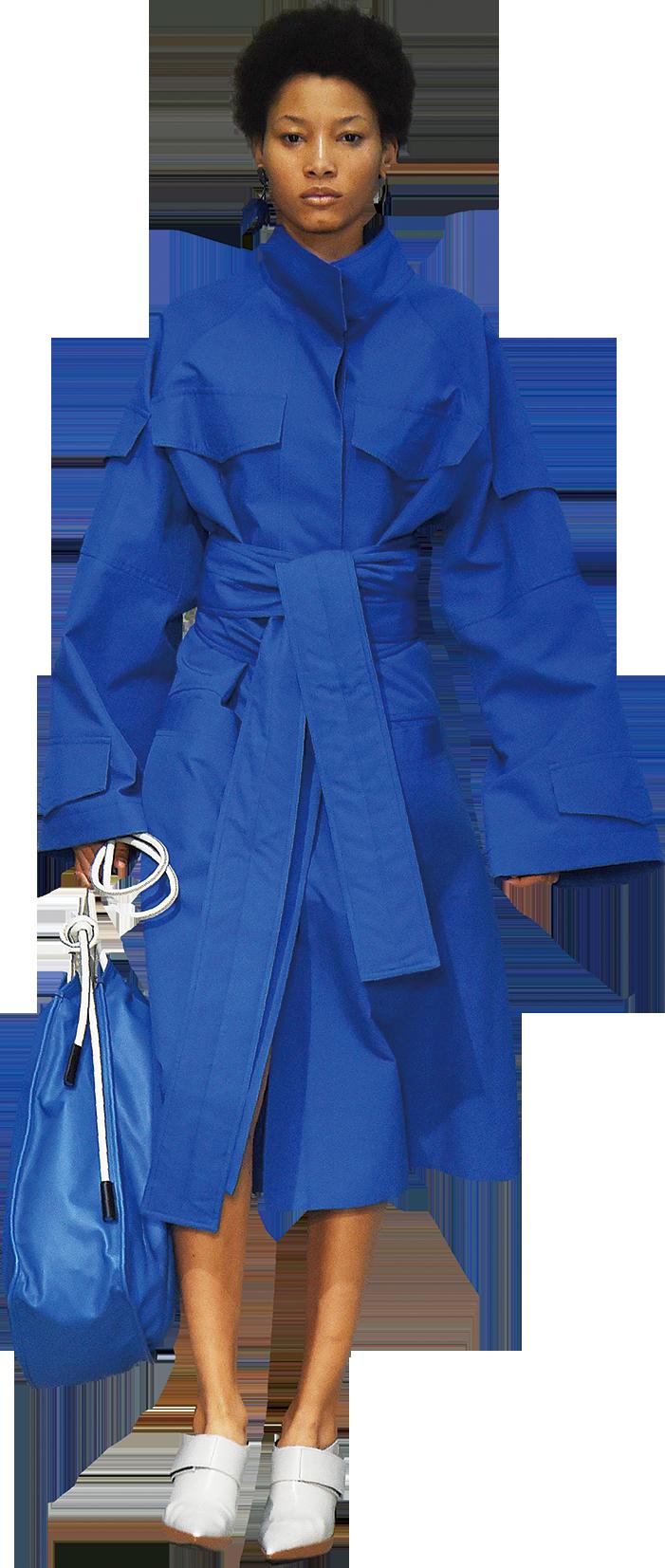 藍色是三原色之一,顏色高調、亮麗。全身藍色的造型打造出炫酷率性的氣質,(Getty Images)