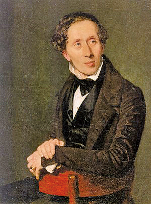 1836年畫家詹森(Christian Albrecht Jensen)為安徒生繪製的肖像畫(公有領域)