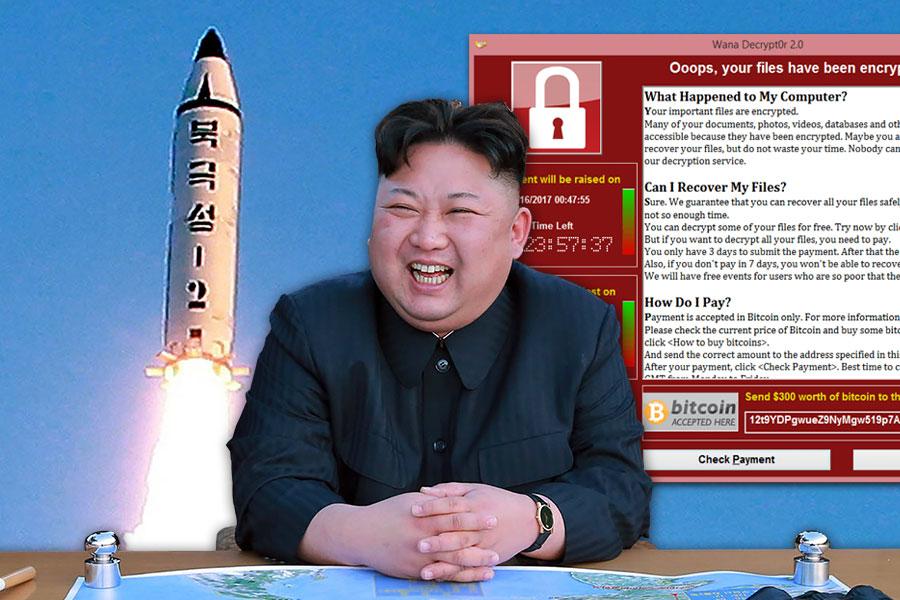 跡象顯示,勒索病毒WannaCry攻擊事件或與北韓有關,並與北韓發射導彈事件之間,在時間上及後續效應上,有多重關聯性;與中共高層習江鬥的相關性更令人遐想。(STR/AFP/Getty Images/Wikimeida Commons/大紀元合成)