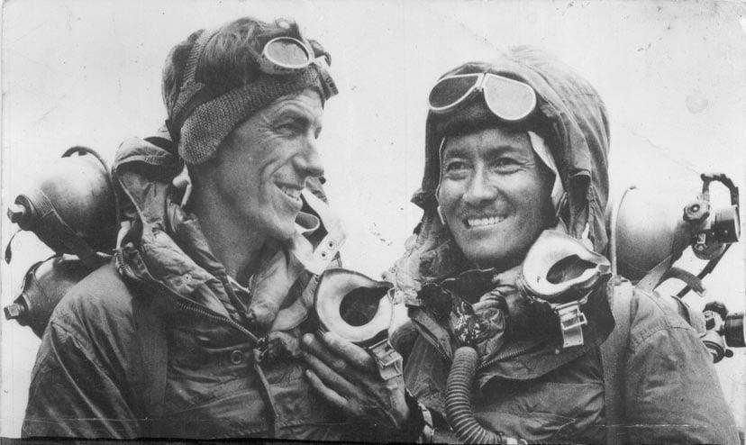 新西蘭登山家埃德蒙・希拉里(Edmund Hillary)(左)與嚮導丹增・諾蓋。(Wikimedia Commons)