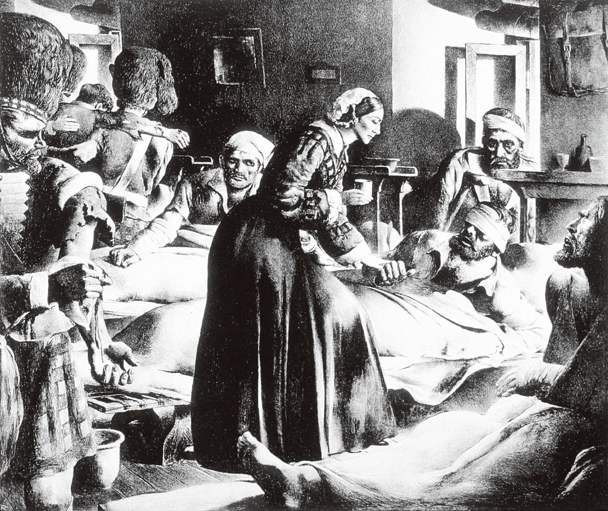 因為南丁格爾的到來,讓原本髒亂不堪的戰地醫院,滿溢了如同身處教會般的神聖與祥和。她的關懷讓傷兵感動,並稱她為「克里米亞的天使」或「提燈的天使」。(網絡圖片)