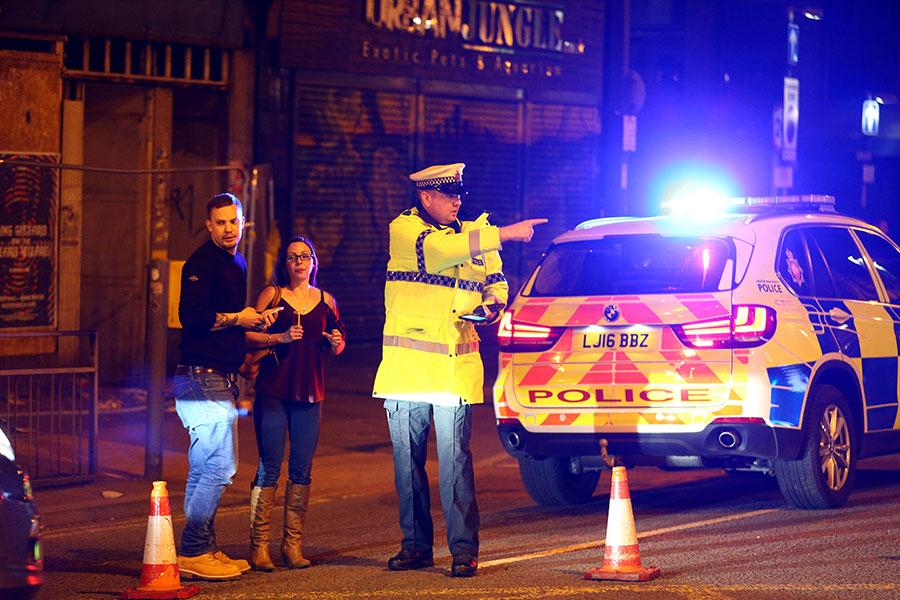 當地時間周一(5月22日)晚,英國曼徹斯特競技場(Manchester Arena)發生爆炸事件,警方確認「多人死亡」。(Photo by Dave Thompson/Getty Images)