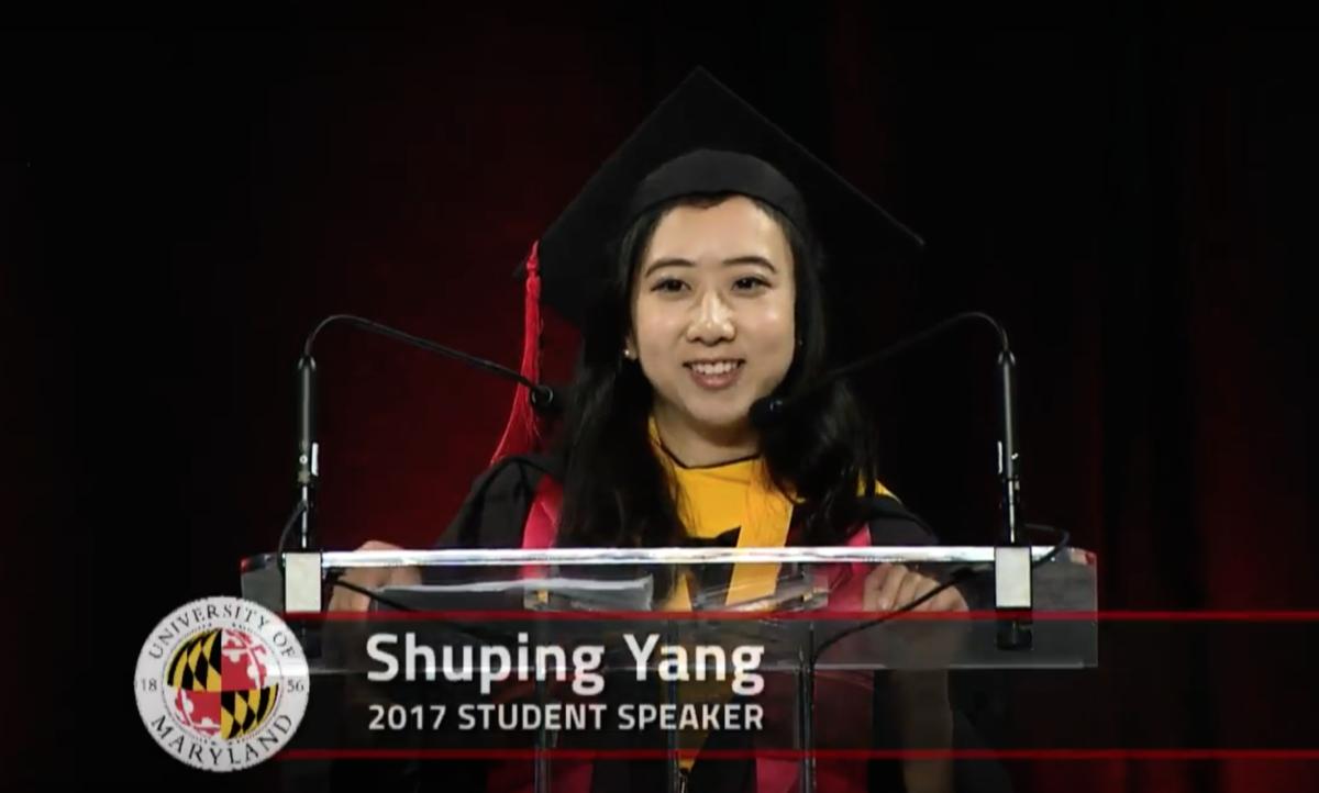 華人留學生楊舒平在馬里蘭大學畢業典禮上的演講引發熱議。(YouTube擷圖)