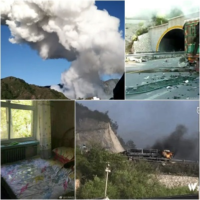 油罐車疑因追尾引發爆炸起火,事故涉及橋下村民,已致3人死亡,15人受傷,部份民房受損。(合成圖片)