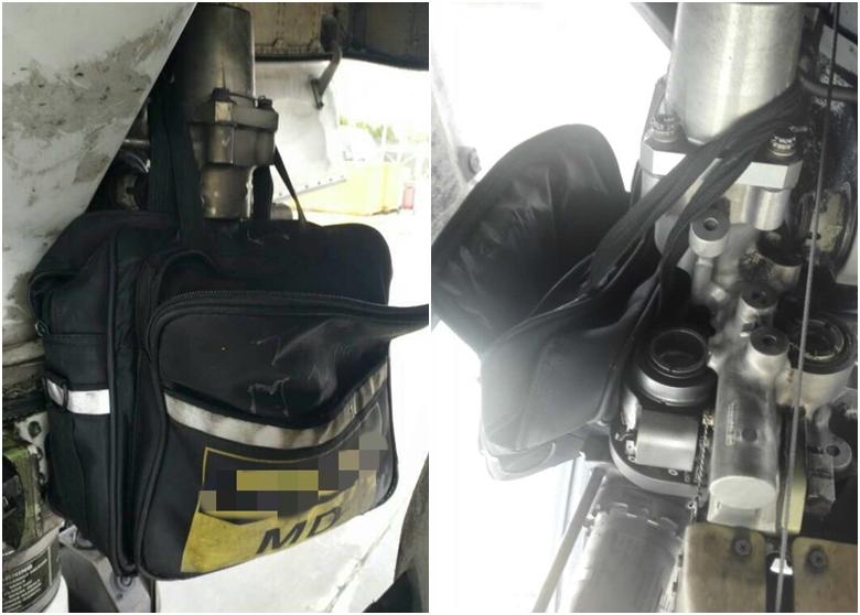 5月22日國航一架由北京飛往蘭州的航班,起落架上竟掛着一個工具包飛行。(網路圖片)