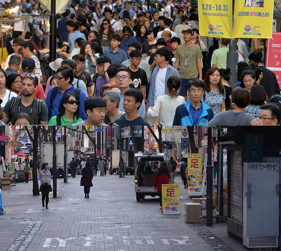 上半部是去年10月1日中國遊客在明洞觀光的街景。下半部是中共採取禁韓令以後,首爾明洞大街安靜的街景。(Newsis)