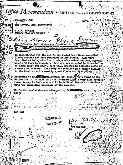 FBI公佈的備忘錄證實,1947年確實有UFO在羅斯威爾被尋獲。(FBI網站)