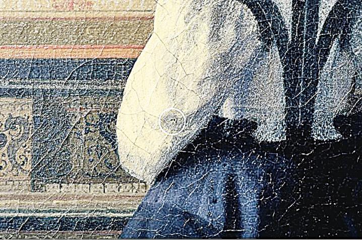 約翰內斯‧維米爾(Johannes Vermeer)畫作《音樂課》(The Music Lesson)局部,作於1662~1664年間,上面的針孔清晰可見。(Courtesy of Jorgen Wadum)