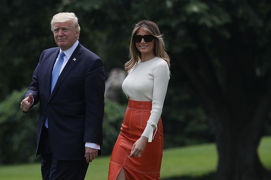 上周五(5月19日),特朗普和夫人自白宮出發前往沙特阿拉伯。(Alex Wong/Getty Images)