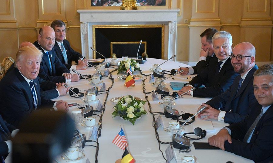 特朗普和比利時總理米歇爾召開工作餐會。(MANDEL NGAN/AFP/Getty Images)
