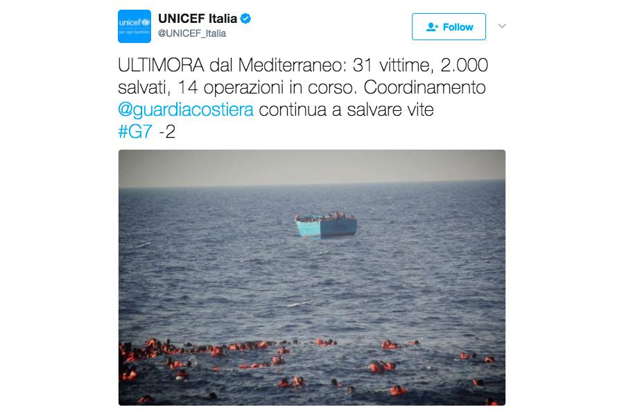 至少34人24日從地中海1艘超載的移民船跌落海中溺斃,其中包括數名年幼兒童。(UNICEF Italia/twitter.com/UNICEF_Italia)