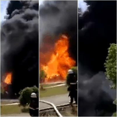 載有超過20噸甲苯的槽罐車突然發生火災,附近人員緊急撤離。(網絡圖片)