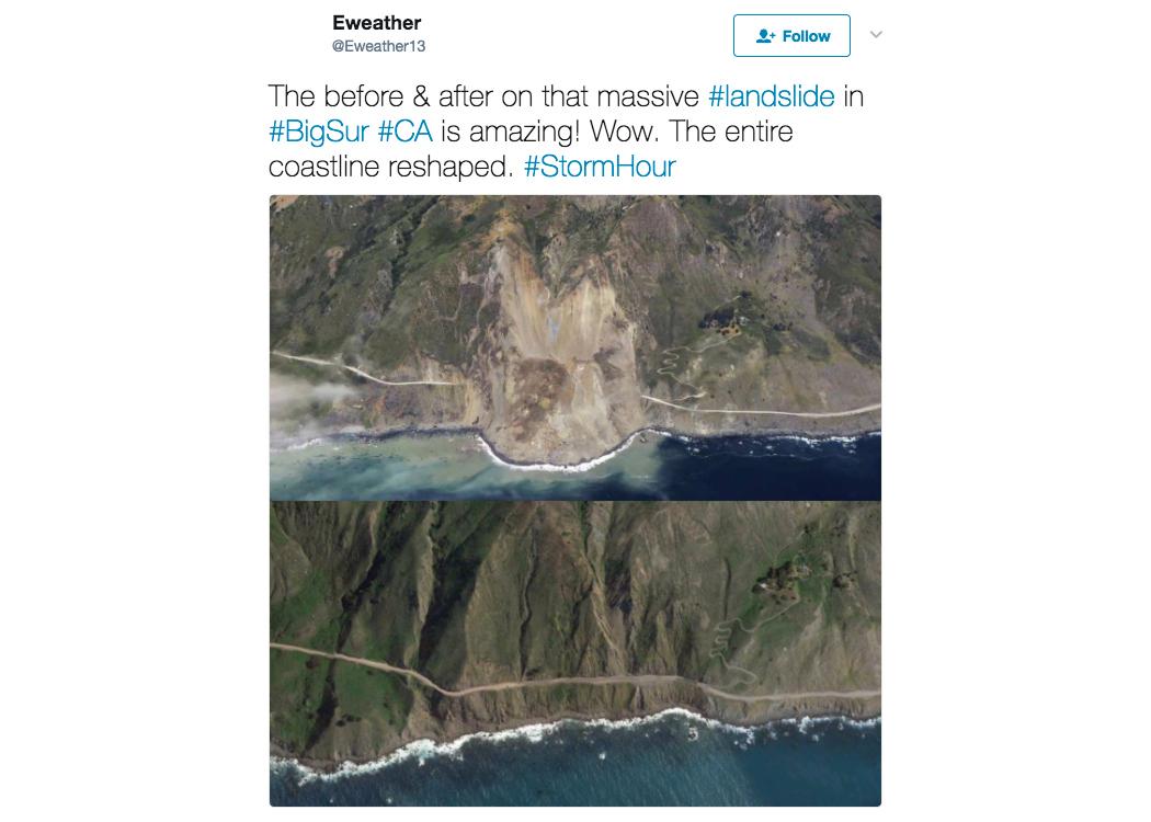美國加州風景優美的大蘇爾(Big Sur)高速公路中的一段,被近日一次嚴重山體滑坡所帶來的大量泥石流掩埋截斷。(推特擷圖)