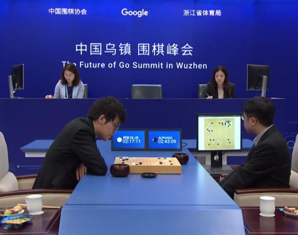 5月25日上午10時半,柯潔第二次坐到了AlphaGo的面前。比賽一直持續到下午2時許,最終柯潔出現失誤,投子認輸。(網路圖片)