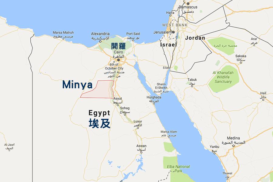 當地時間5月26日,埃及一輛載有基督徒的公交車遭武裝份子襲擊,造成最少26人死亡。(Google地圖)