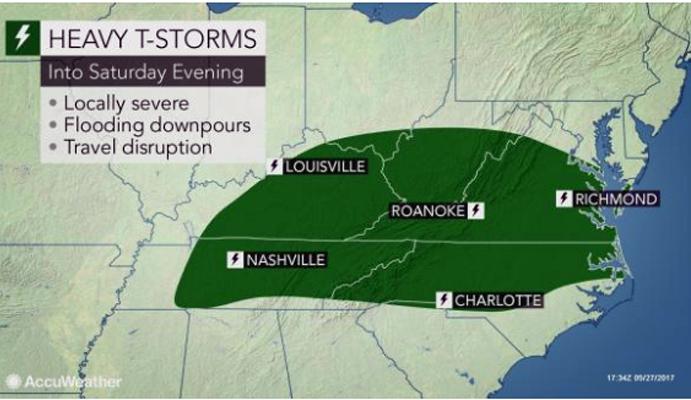 另一場雷暴的複合體將於周六晚上襲擊肯塔基州,田納西州,維珍尼亞州,北卡羅萊納州。(AccuWeather.com)