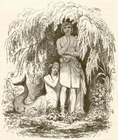 《海的女兒》的第一幅插圖,是丹麥藝術家Vilhelm Pedersen於1849年創作的(公有領域)